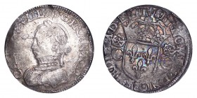 FRANCE. Charles IX, 1560-74. Teston 1562-T, Nantes. 9.52 g. Dup.1063. Old toning. Very fine.