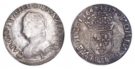 FRANCE. Charles IX, 1560-74. Teston 1564-I, Limoges. 9.39 g. Dup.1071. Very fine.