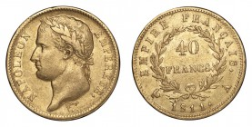 FRANCE. Napoleon I, 1804-1814, 1815. Gold 40 Francs 1811-A, Paris. 12.9 g. Mintage 1,261,764. KM# 696.1. Good very fine.