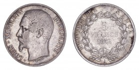 FRANCE. Napoleon III, 1852-70. 5 Francs 1852-A, Paris. 25 g. Mintage 16,096,228. KM# 773, F# 329, Gad# 726. Fine to very fine.