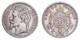 FRANCE. Napoleon III, 1852-70. 5 Francs 1867-A, Paris. Good very fine with lustre.
