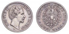 GERMANY: BAVARIA. Ludwig II, 1864-86. 2 Mark 1876-D, München. 11.11 g. Mintage 5,370,139. J.41. Very fine.