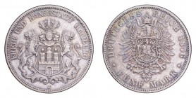 GERMANY: HAMBURG. Free city. 5 Mark 1876-J, Hamburg. 27.77 g. KM# 598, J# 62. A pleasant VF coin with a good amount of remaining lustre.