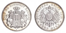 GERMANY: HAMBURG. Free city. 5 Mark 1913-J, Hamburg. J. 65. Choice uncirculated.