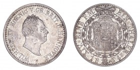 GERMANY: HANNOVER. William IV, 1830-37. Thaler 1834-B, Hannover. 22.3 g. Mintage 44,000. KM# 164. Very fine/Good very fine.