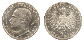 GERMANY: HESSE-DARMSTADT. Ernst Ludwig, Großherzog, 1892-1918. Proof 3 Mark 1910-A, Berlin. 16.66 g. KM 375, J. 76. Estimated mintage of only 500 in p...