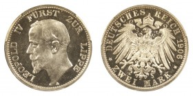 GERMANY: LIPPE-DETMOLD. Leopold IV, 1905-8. Proof 2 Mark 1906-A, Berlin. 11.11 g. Mintage 1,100. KM# 270. Reported mintage of only 1100 in proof. The ...
