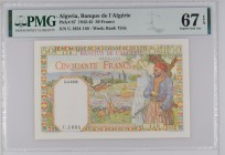 Algeria [#87, GEM+] 50 francs Type 1938 Filigrane « lettres »