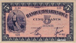 Martinique [#16, VF+] 5 francs Type 1942  (US)
