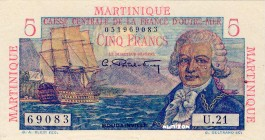 Martinique [#27, XF] 5 francs Bougainville Type 1946