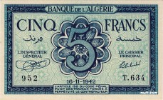Algeria [#91, GEM] 5 francs Type 1942