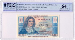 Saint-Pierre-and-Miquelon [#23, UNC] 10 francs Colbert Type 1946 modifié