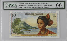French Antilles [#8, GEM] 10 francs Type 1964