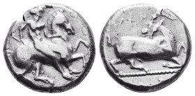 Cilicia. Kelenderis circa 350-330 BC. Stater AR Nude ephebe riding prancing horse to right, holding reins in his right hand and goad in his left, in f...