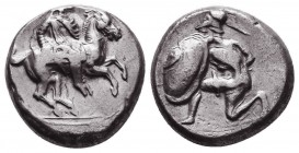 CILICIA, Tarsos. Circa 410-385 BC. AR Stater. Satrap on horseback right / Hoplite kneeling left, holding shield and thrusting spear. Casabonne type F1...