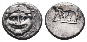 Mysia. Parion 400-300 BC. Hemidrachm AR ΠΑ-ΡΙ, bull standing left, head right, bukranion below / Facing gorgoneion with protruding tongue, serpents ar...
