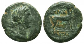 KINGS OF GALATIA. Amyntas, 39-25 BC. AE Obv: Draped bust of Artemis to right with bow and quiver over her shoulder. Rev.Stag standing right. HGC 7, 78...