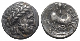 "Celtic, Eastern Europe, imitating Philip II of Macedon, 2nd century BC. AR Tetradrachm (26mm, 12.15g, 6h). ""Puppenreiter"" type. Laureate head of Zeus ..."