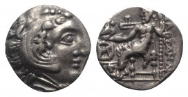Celtic, Eastern Europe, c. 3rd century BC. AR Drachm (16mm, 3.98g, 3h). Imitating Alexander III of Macedon, Chios mint. Head of Herakles r., wearing l...