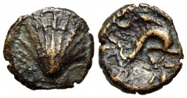 Spain, Arse-Saguntum, c. 200-150 BC. Æ Eighth Unit (11mm, 1.11g, 3h). Shell. R/ Dolphin r.; crescent above, A and star below. ACIP 1979; SNG BM Spain ...