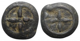 Etruria, Uncertain inland mint, c. 300-250 BC. Cast Æ Uncia (26mm, 16.16g). Wheel of four spokes; pellet (mark of value) in centre. R/ Wheel of four s...