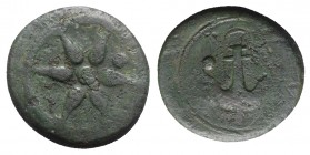 Etruria, Uncertain inland mint, c. 300-250 BC. Æ Uncia (23mm, 7.93g). Wheel with six spokes; pellet within. R/ Anchor; pellet to l., (Etruscan C) to r...