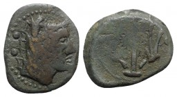 Etruria, Vetulonia, c. 215-211 BC. Æ Sextans (24mm, 8.28g, 3h). Head of Nethuns r., wearing ketos (sea monster) headdress; two pellets behind. R/ Trid...