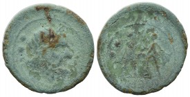 Campania, Atella, c. 216-211 BC. Æ Sextans (28mm, 11.45g, 12h). Laureate head of Zeus r.; two pellets behind. R/ Oath scene; two soldiers standing fac...