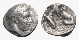 Southern Campania, Neapolis, c. 320-300 BC. AR Obol (8.5mm, 0.52g, 6h). Male head r., hair bound with taenia. R/ Herakles kneeling r., strangling Neme...