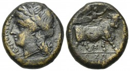 Southern Campania, Neapolis, c. 270-250 BC. Æ (20mm, 6.30g, 12h). Laureate head of Apollo l. R/ Man-headed bull standing r., being crowned by Nike who...