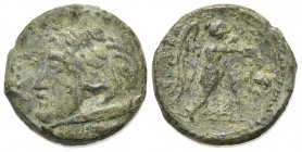 Apulia, Ausculum, c. 240 BC. Æ (17mm, 4.82g, 12h). Head of young Herakles l., in lion's skin, club behind neck. R/ Nike standing r., holding wreath an...