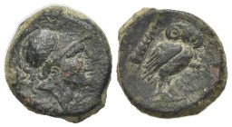 Northern Apulia, Teate, c. 225-200 BC. Æ Uncia (15mm, 3.38g, 9h). Helmeted head of Athena r. R/ Owl standing r., head facing; club to l. HNItaly 702d;...