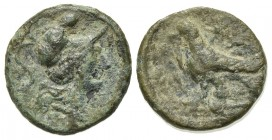 Southern Apulia, Caelia, c. 220-150 BC. Æ Uncia (15mm, 2.50g, 6h). Helmeted head of Athena r.; pellet above. R/ Eagle standing l. on thunderbolt; two ...