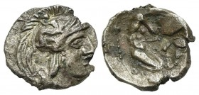 Southern Apulia, Tarentum, c. 380-325 BC. AR Diobol (11mm, 0.99g, 6h). Head of Athena r., wearing crested helmet decorated with Skylla. R/ Herakles kn...