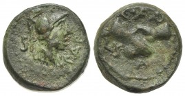 Northern Lucania, Paestum, c. 90-44 BC. Æ Semis (15mm, 5.09g, 11h). Helmeted and draped male bust r. R/ Clasped r. hands. Crawford 32; HNItaly 1250; S...