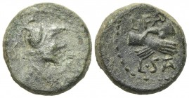 Northern Lucania, Paestum, c. 90-44 BC. Æ Semis (16mm, 4.83g, 9h). Helmeted and draped male bust r. R/ Clasped r. hands. Crawford 32; HNItaly 1250; SN...