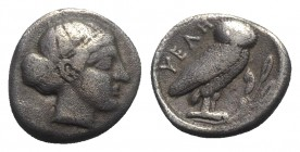 Northern Lucania, Velia, c. 465-440 BC. AR Drachm (15mm, 3.86g, 3h). Head of nymph r. R/ Owl standing r. on branch. Williams 109; HNItaly 1265. Near V...