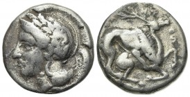 Northern Lucania, Velia, c. 440/35-400 BC. AR Didrachm (20mm, 7.46g, 5h). Head of Athena l., wearing crested Attic helmet decorated with wreath. R/ Li...