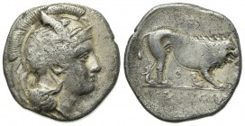 Northern Lucania, Velia, c. 340-334 BC. AR Didrachm (23mm, 7.18g, 2h). Head of Athena r., wearing crested Attic helmet decorated with griffin. R/ Lion...