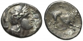 Northern Lucania, Velia, c.340-334 BC. Fourrèe Didrachm (22mm, 4.88g, 5h). Head of Athena r., wearing crested Attic helmet decorated with griffin. R/ ...