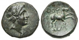 Southern Lucania, Thourioi, c. 280-213 BC. Æ (14mm, 2.35g, 3h). Laureate head of Apollo r. R/ Horse prancing r.; monogram below. HNItaly 1928; SNG ANS...