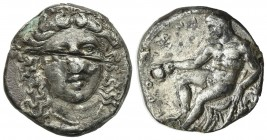 Bruttium, Kroton, c. 400-325 BC. Fourrèe Stater (20mm, 5.06g, 9h). Head of Hera Lakinia facing slightly r., wearing stephane decorated with palmettes....
