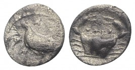 Sicily, Akragas, c. 425-406 BC. AR Litra (8mm, 0.52g, 11h). Eagle standing l. on capital. R/ Crab. SNG ANS 989–995; HGC 2, 121. Porous, near VF