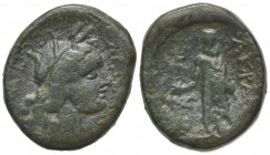 Sicily, Akragas, after 210 BC. Æ (23.5mm, 9.87g, 11h). Laureate head of Kore r. R/ Asklepios standing facing, holding patera. CNS I, 144; SNG ANS 1143...