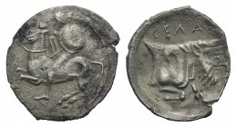 Sicily, Gela, c. 430-425 BC. AR Litra (12mm, 0.52g, 6h). Warrior on horseback l., holding shield R/ Forepart of man-headed bull r. SNG ANS 82; HGC 2, ...