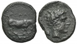 Sicily, Gela, c. 420-405 BC. Æ Tetras or Trionkion (17.5mm, 3.43g, 1h). Bull standing r.; leaf above. R/ Horned head of Gelas r. CNS III, 18; SNG ANS ...