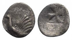 Sicily, Himera, c. 530-483/2 BC. AR Litra (11mm, 0.85g). Cock standing l. R/ Mill-sail incuse. Cf. SNG ANS 145; HGC 2, 427. Dark patina, slightly off-...