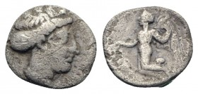 Sicily, Himera, c. 425-409 BC. AR Litra (9mm, 0.72g, 6h). Female head r. R/ Nike flying l., holding wreath(?). Unpublished in the standard references....