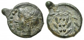 Sicily, Himera, c. 420-407 BC. Æ Hemilitron (19mm, 2.96g, 11h). Head of nymph l.; six pellets before. R/ Six pellets within wreath. CNS I, 35; SNG ANS...