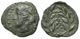 Sicily, Himera, c. 420-407 BC. Æ Hemilitron (17mm, 2.74g, 6h). Head of nymph l.; six pellets before. R/ Six pellets within wreath. CNS I, 35; SNG ANS ...